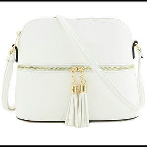 DELUXITY Tassel Zipper Pocket Crossbody Bag